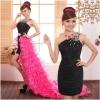 Pre-order / เช่า ชุดแฟนซี ชุดราตรี mini dress สีดำ ต่อหางปลาสีชมพู Hot pink
