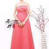 Pre-order ชุดราตรียาว เกาะอก ทรงเกาหลี ผ้าโปร่งอัดพลีตสวย ปักเลื่อมหน้าอก สีชมพูโอโรส