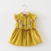 ชุดเดรสสีเหลืองปักลายดอกไม้ที่หน้าอก แพ็ค 4 ชุด [size 6m-1y-18m-2y]