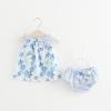 ชุดเซตเสื้อลายดอกไม้สีฟ้า+กางเกงใน แพ็ค 4 ชุด [size 6m-1y-18m-2y]