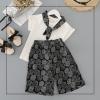 ชุดเซตเสื้อสีขาว+ผ้าพันคอสีดำ+กางเกงสีดำ [size 2y-3y-4y-5y-6y]