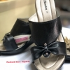 รองเท้าบาจา ส้นเตารีด รุ่นโบรวบสีดำ