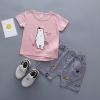 ชุดเซตเสื้อสีชมพูลายน้องหมี+กางเกงลายทางสีกรมท่า [size 6m-1y-3y]