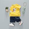 ชุดเซตเสื้อสีเหลืองลายสนูปปี้ + กางเกงสียีนส์เข้ม แพ็ค 5 ชุด [size 6m-1y-2y-3y]