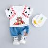 ชุดเซตเสื้อสีขาวลายหมีบราวน์+กางเกงสีฟ้า [size 6m-1y-2y-3y]