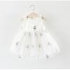 ชุดเดรสสีขาวปักดอกกุหลาบสีม่วง [size 6m-1y-18m]