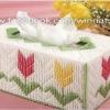 ชุดปักแผ่นเฟรมกล่องทิชชูทรงยาวลายดอกทิวลิป