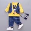 ชุดเซตเสื้อกั๊กแขนยาวลายเด็กผู้ชายสีเหลือง [size 1y-2y-3y-4y]