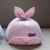 หมวกเด็กลายดาวสีชมพูอ่อนแต่งหูกระต่าย แพ็ค 3 ชิ้น