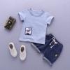 ชุดเซตเสื้อสีฟ้าแต่งลายน้องหมาที่ชายเสื้อ+กางเกงสียีนส์เข้ม แพ็ค 4 ชุด [size 6m-1y-2y-3y]