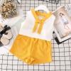 ชุดเซตเสื้อสีขาวแต่งโบว์+กางเกงสีเหลือง แพ็ค 5 ชุด [size 2y-3y-4y-5y-6y]