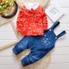 ชุดเซตเสื้อลายขวดนมสีแดง+เอี๊ยมสียีนส์ [size 1y-2y-4y]