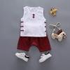 ชุดเซตเสื้อแขนกุดสีขาว+กางเกงสีแดง [size 6m-1y-2y]