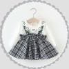 ชุดเซตเสื้อแขนยาวสีขาวปกคอหัวใจ+เอี๊ยมกระโปรงลายสก็อตสีดำ แพ็ค 2 ชุด [size 6m-2y]