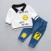ชุดเซตเสื้อแขนยาวสีขาวปกคอสีดำ+กางเกงยีนส์ แพ็ค 1 ชุด [size 2y]
