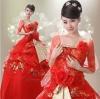 Pre-order / เช่า ชุดแฟนซี ชุดราตรียาว สีแดง ปักลายสีทอง สวยหรู แต่งดอกไม้ที่เอว