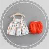 ชุดเซตเสื้อสายเดี่ยวลายดอกไม้+กางเกงสีแดง แพ็ค 4 ชุด [size 6m-1y-18m-2y]