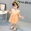 ชุดเดรสลายจุดสีส้มแต่งดอกไม้ที่คอ แพ็ค 4 ชุด [size 6m-1y-18m-2y]