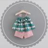 ชุดเซตเสื้อสายเดี่ยวสีเขียวลายแอปเปิ้ล+กางเกงสีชมพู [size 6m-1y-18m-2y]