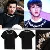 เสื้อยืดสีดำปักลายรอบคอเสื้อ แบบ Jungkook