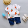 ชุดเซตเสื้อสีขาวลายแครอท+กางเกงสียีนส์เข้ม แพ็ค 4 ชุด [size 6m-1y-2y-3y]