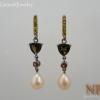 ต่างหูเงินไข่มุขและพลอย (Earrings pearl&gems)