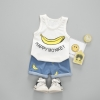 ชุดเซตเสื้อกล้ามสีขาวลายกล้วย+กางเกงสีฟ้า [size 6m-1y-2y-3y]
