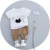 ชุดเซตเสื้อสีขาวลายน้องแมว+กางเกงสีน้ำตาล [size 1y-18m-2y]
