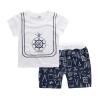 ชุดเซตเสื้อสีขาวลายสมอเรือ+กางเกงสีกรมท่า แพ็ค 5 ชุด [size 6m-1y-18m-2y-3y]