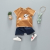 ชุดเซตเสื้อสีน้ำตาลลายสนูปปี้ + กางเกงสียีนส์เข้ม [size 6m-1y-2y-3y]