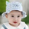 หมวกปีกกว้างลายสก็อตสีฟ้าลายหน้าหมี แพ็ค 3 ชิ้น