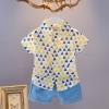ชุดเซตเสื้อเชิ้ตลายสามเหลี่ยมสีเหลือง+กางเกงสีฟ้า แพ็ค 3 ชุด [size 6m-18m-2y]