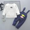 ชุดเซตเสื้อแขนยาวสีขาว+เอี๊ยมลายปลาสีกรมท่า [size 2y-4y]