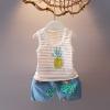ชุดเซตเสื้อกล้ามลายสัปปะรดสีชมพู แพ็ค 3 ชุด [size 6m-1y-3y]