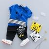 ชุดเซตเสื้อสีน้ำเงินลายมอนสเตอร์+กางเกงสีดำ แพ็ค 4 ชุด [size 6m-1y-2y-3y]