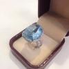 แหวนทองอความารีนประดับไวท์ซัฟไฟร์ ( Gold aquamarine with white sapphire ring)