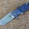 RHK Half Track Tanto Stonewash Blade Horse Engraved Blue Titanium Textured Handle