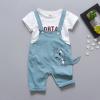 เสื้อ+เอี๊ยมกางเกง สีฟ้า แพ็ค 4 ชุด ไซส์ 80-90-100-110