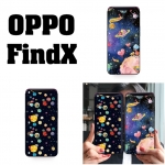 เคส OPPO Find X ลายอวกาศ เคสขอบซิลิโคน ด้านบนเว้นช่องให้กล้องสไลด์ขึ้นได้ หลังเคสเคลือบฟิล์มกระจกใสทำให้เคส เงาๆ สวยๆ