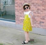 ชุดเซตเสื้อสีขาว+เดรสสายเดี่ยวสีเหลืองลายดอกไม้ [size 2y-3y-4y-5y-6y]