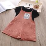เสื้อ+เอี๊ยมกางเกง สีชมพู แพ็ค 5ชุด ไซส์ 100-110-120-130-140
