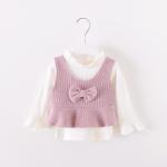 เสื้อ+เสื้อกั๊ก สีชมพู แพ็ค 4 ชุด ไซส์ 70-80-90-100