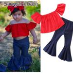 เสื้อ+กางเกง สีแดง แพ็ค 5ชุด ไซส์ 80-90-100-110-120 (เลือกไซส์ได้)