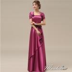 พร้อมส่ง ชุดราตรียาว สีม่วง ปิดไหล่ แต่งดอกกุหลาบจับจีบสวย ผ้าซาติน (L-5XL) *เหลือเฉพาะไซส์ L*