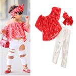 เสื้อ+กางเกง+ที่คาดผม สีแดง แพ็ค 6ชุด ไซส์ 80-90-100-110-120-130 (เลือกไซส์ได้)