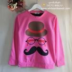 [พร้อมส่ง] เสื้อกันหนาว แขนยาว แบบสวม พิมพ์ลายลุงหนวด Mustache สีชมพูเข้ม