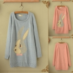 [Pre*order] PAJ4832 เสื้อกันหนาวไหมพรมตัวยาว (เดรสกันหนาว) ทอลายกระต่ายสุดน่ารัก Must Have ก่อนหมดค่ะ Cute Bunny long sweater