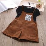 เสื้อ+เอี๊ยมกางเกง สีน้ำตาล แพ็ค 5ชุด ไซส์ 100-110-120-130-140
