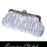 พร้อมส่ง Evening Clutch กระเป๋าออกงาน สีเงิน ผ้าซาตินอัดพลีต ลายฟันปลา พร้อมสายโซ่ สั้นและยาว