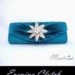 Sale พร้อมส่ง Evening Clutch กระเป๋าออกงาน ผ้าซาตินสีน้ำทะเล จับจีบ แต่งคริสตัลดอกไม้หรู
